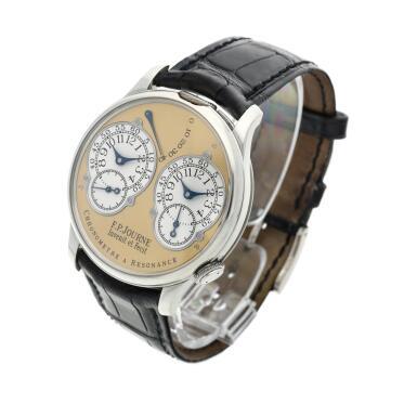 View 3. Thumbnail of Lot 422. Chronomètre à Résonance  A platinum dual time wristwatch with power reserve indication and brass movement, Circa 2002 .