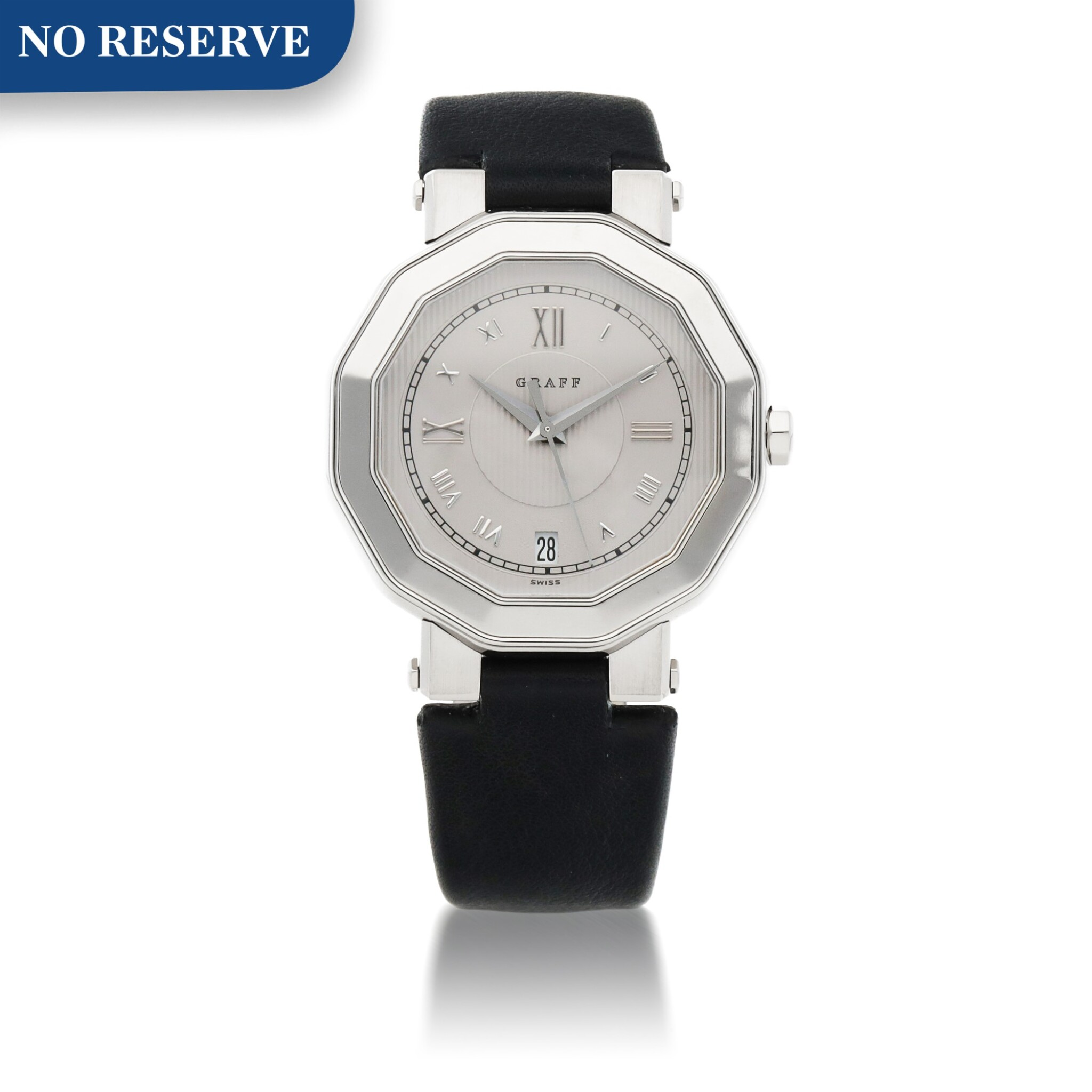 View full screen - View 1 of Lot 420. REF GXXVI WHITE GOLD WRISTWATCH WITH DATE CIRCA 2010.