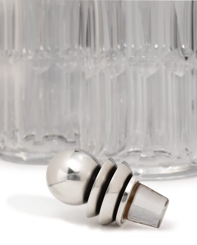View 3. Thumbnail of Lot 327. A PAIR OF GLASS DECANTERS WITH DANISH SILVER STOPPERS, NO. 206C, DESIGNED BY HARALD NIELSEN, GEORG JENSEN SILVERSMITHY, COPENHAGEN, CIRCA 1915-27.