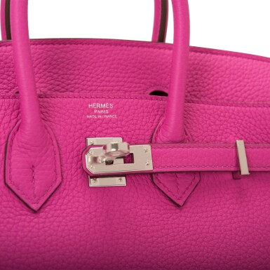 View 6. Thumbnail of Lot 4. Hermès Magnolia Togo Birkin 25cm Palladium Hardware.