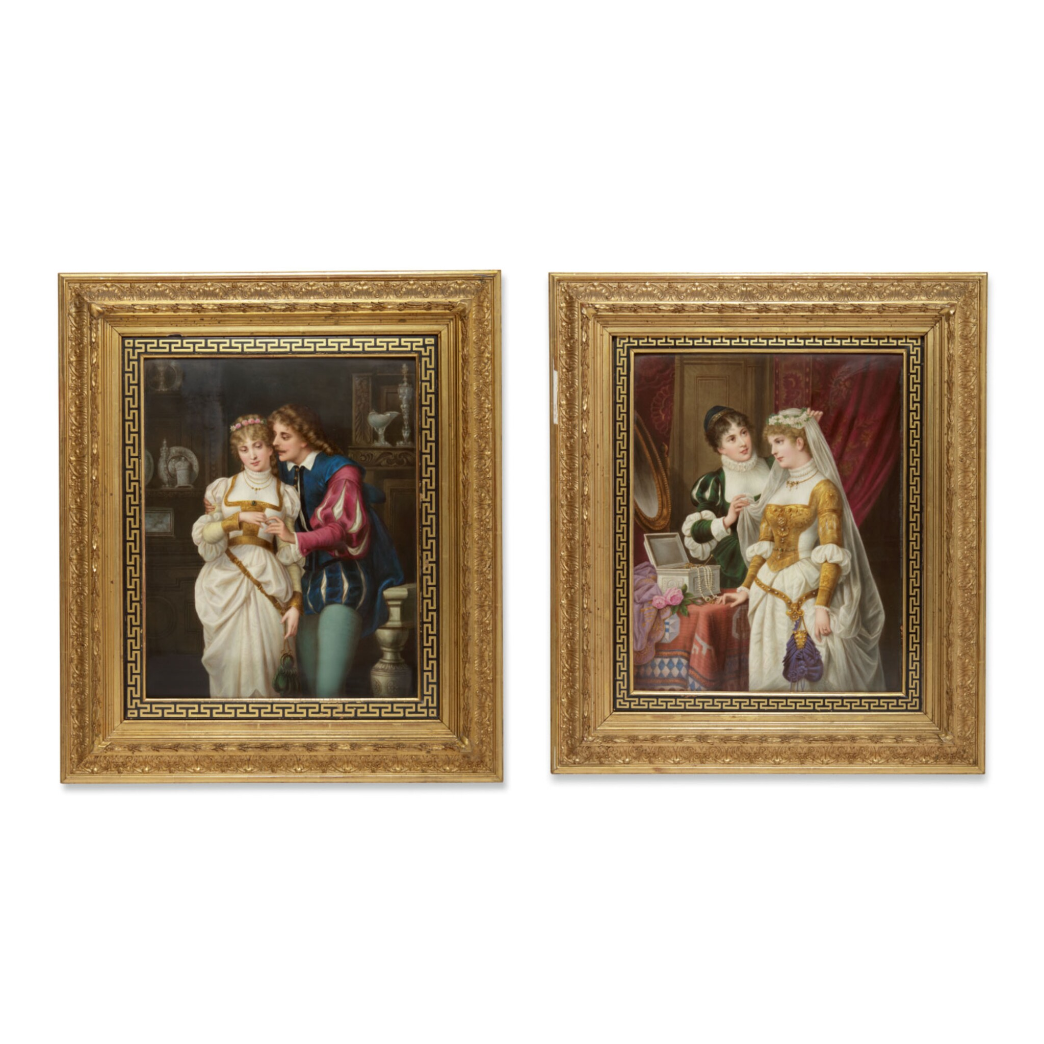 View full screen - View 1 of Lot 848.  A PAIR OF BERLIN (K.P.M) PORCELAIN RECTANGULAR PLAQUES, 'THE PROPOSAL' AND 'THE BRIDAL PARTY' LATE 19TH CENTURY .
