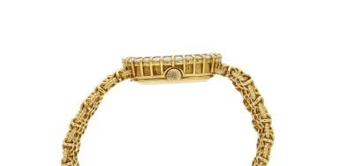 View 4. Thumbnail of Lot 99. Reference 4524/1  A yellow gold and diamond-set cushion shaped wristwatch, Circa 1982.