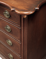 VERY FINE AND RARE CHIPPENDALE INLAID CHERRYWOOD SCALLOP-TOP CHEST OF DRAWERS, CONNECTICUT RIVER VALLEY, CIRCA 1795