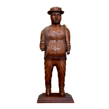 CARVED BUTTERNUT SCULPTURE OF A FARMER WITH CORN COB, LATE 19TH CENTURY