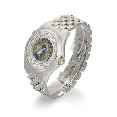 View 2. Thumbnail of Lot 361. PATEK PHILIPPE   WORLD TIME, REF 5131/1P, PLATINUM WORLD TIME WRISTWATCH WITH CLOISONNE ENAMEL DIAL AND BRACELET, CIRCA 2018.