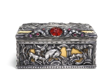 View 2. Thumbnail of Lot 63. A JEWELLED PARCEL-GILT SILVER TABLE SNUFF BOX, PROBABLY GERMAN, CIRCA 1760.
