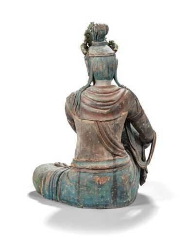 View 3. Thumbnail of Lot 170. Grande figure de Bodhisattva en bois sculpté polychrome probablement début XXème siècle | 或為二十世紀初 木雕加彩菩薩坐像 | A large Ming-style carved wood Bodhisattva, early 20th century.