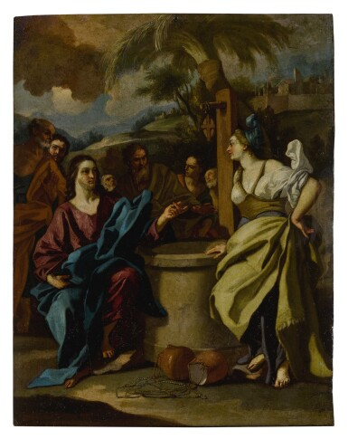 View 1. Thumbnail of Lot 578. Christ and the Samaritan Woman at the Well.