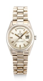 ROLEX | DAY DATE, REFERENCE 1803 A WHITE GOLD WRISTWATCH WITH DAY, DATE AND BRACELET, CIRCA 1972