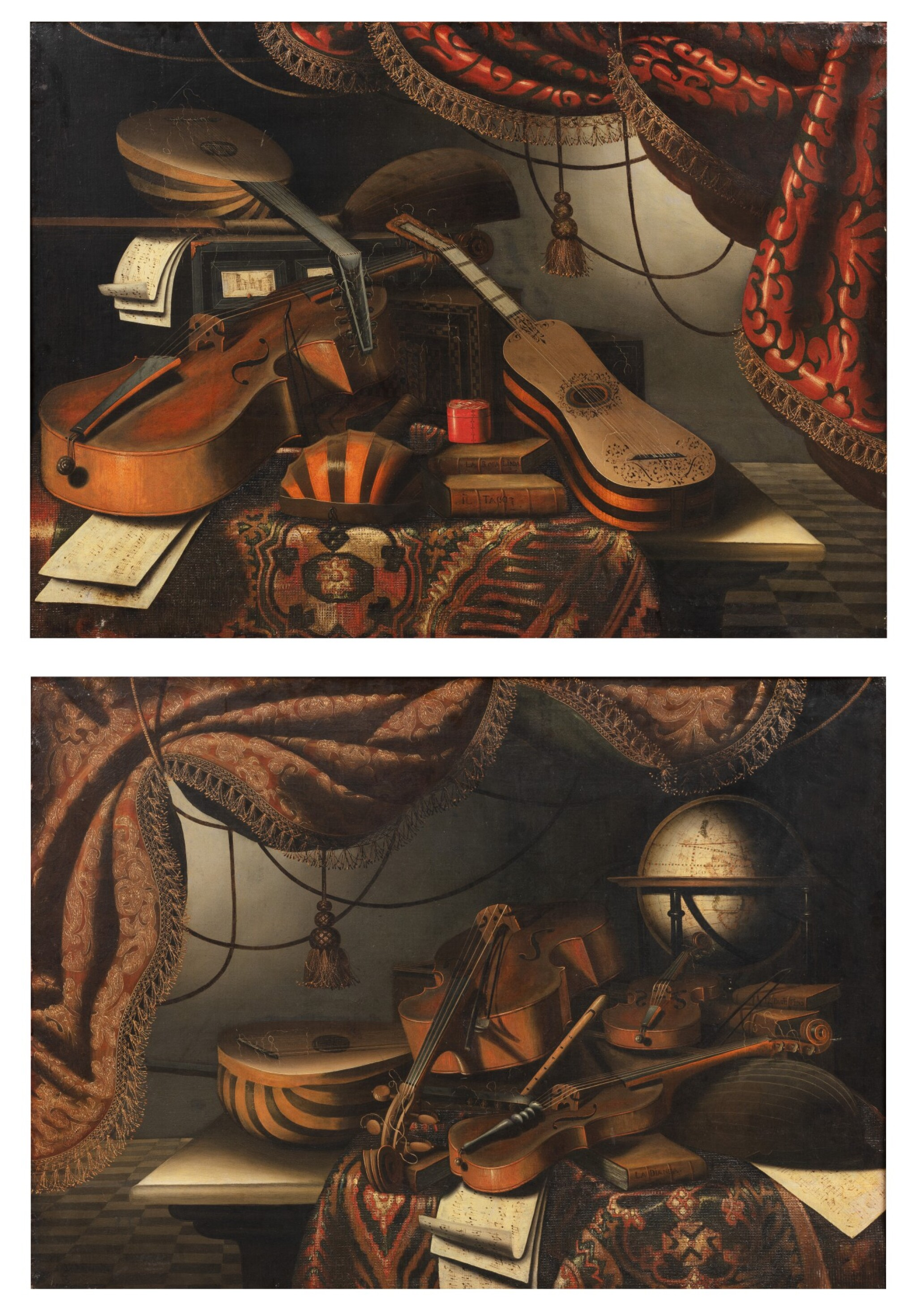 View full screen - View 1 of Lot 156. Still life with musical instruments and a red drapery;  Still life with musical instruments and a globe.
