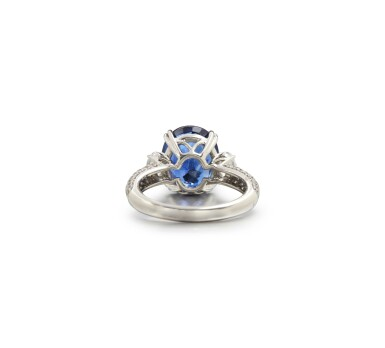View 3. Thumbnail of Lot 9. SAPPHIRE AND DIAMOND RING.