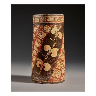 MAYA POLYCHROME CYLINDER VASE LATE CLASSIC, CIRCA AD 550-950