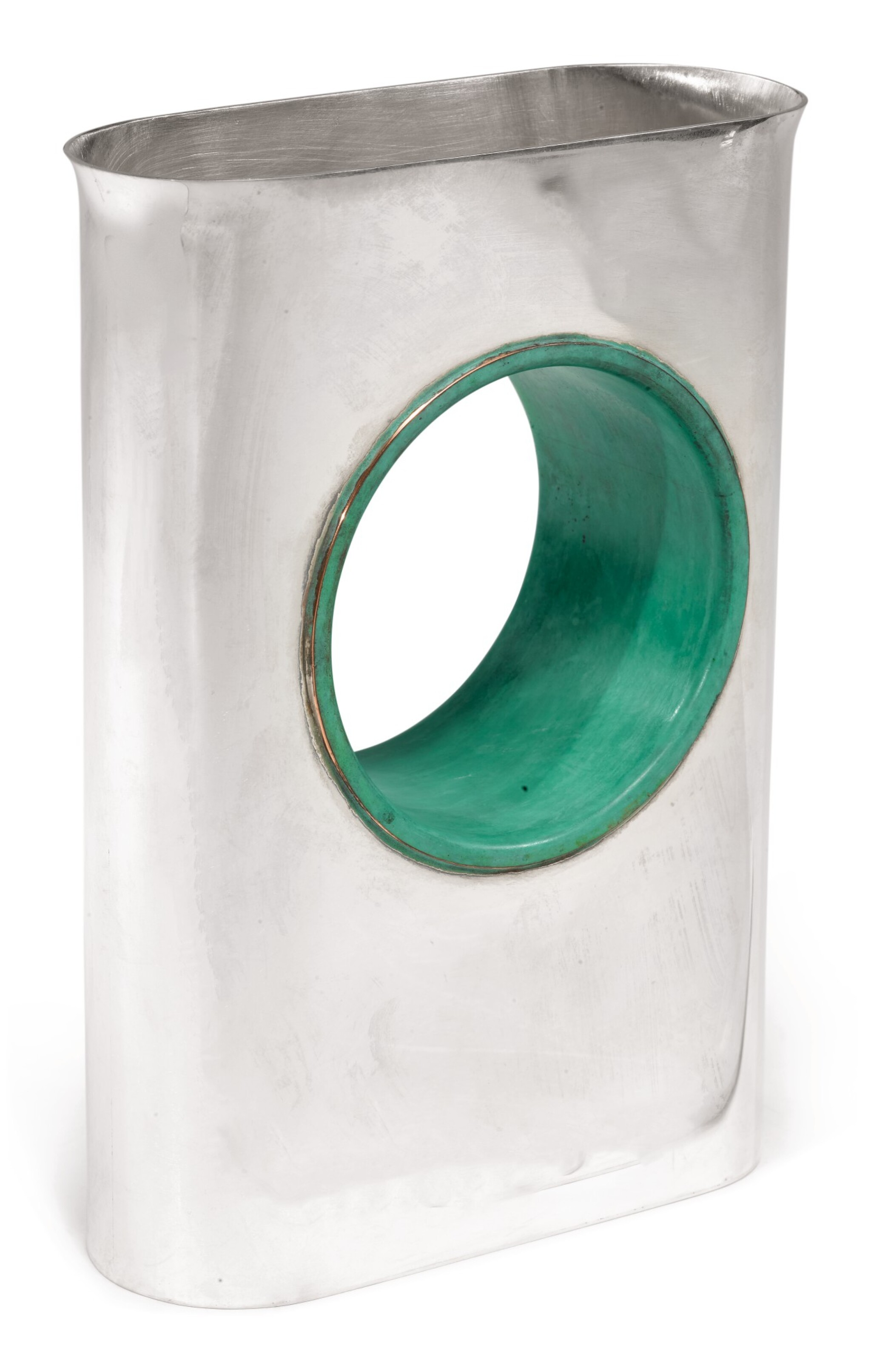 View full screen - View 1 of Lot 129. AN ISRAELI SILVER AND COPPER HAND WASHING VESSEL, ARIE OFIR, JERUSALEM, CIRCA 1989.