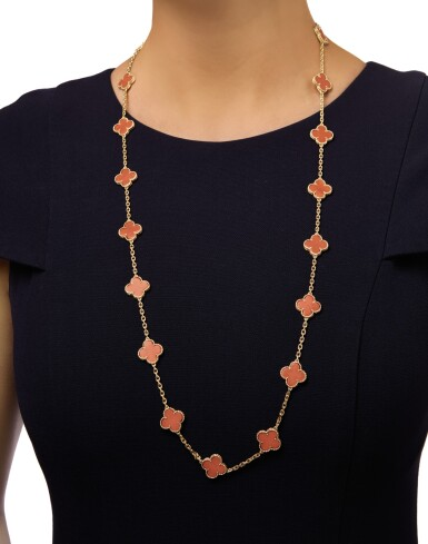 View 2. Thumbnail of Lot 342. GOLD AND CORAL 'VINTAGE ALHAMBRA' NECKLACE, VAN CLEEF & ARPELS, FRANCE .