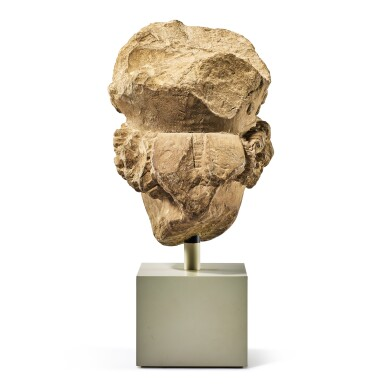 View 5. Thumbnail of Lot 2010. A fragmentary medieval French limestone head of a bishop 14th century   十四世紀 法國石灰岩雕戴冠主教頭像殘件.