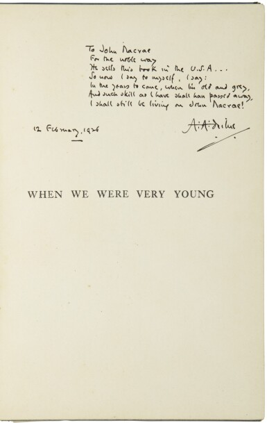 View 1. Thumbnail of Lot 162. MILNE, A.A.   When We Were Very Young. London, Methuen, (1925, tenth edition).