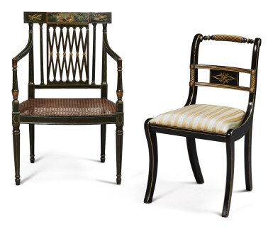 View 2. Thumbnail of Lot 18. A PAIR OF REGENCY STYLE BLACK AND POLYCHROME PAINTED OPEN ARMCHAIRS AND A PAIR OF REGENCY STYLE EBONISED AND PARCEL-GILT SIDE CHAIRS.
