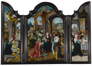 View 1. Thumbnail of Lot 103. A triptych: The Nativity, The Adoration of the Magi, The Presentation in the Temple.