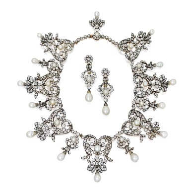 View 1. Thumbnail of Lot 198. Boucheron   Silver-Topped Gold, Natural Pearl and Diamond Necklace and Pair of Earclips [黃金鍍銀鑲天然珍珠配鑽石項鏈及耳環一對].