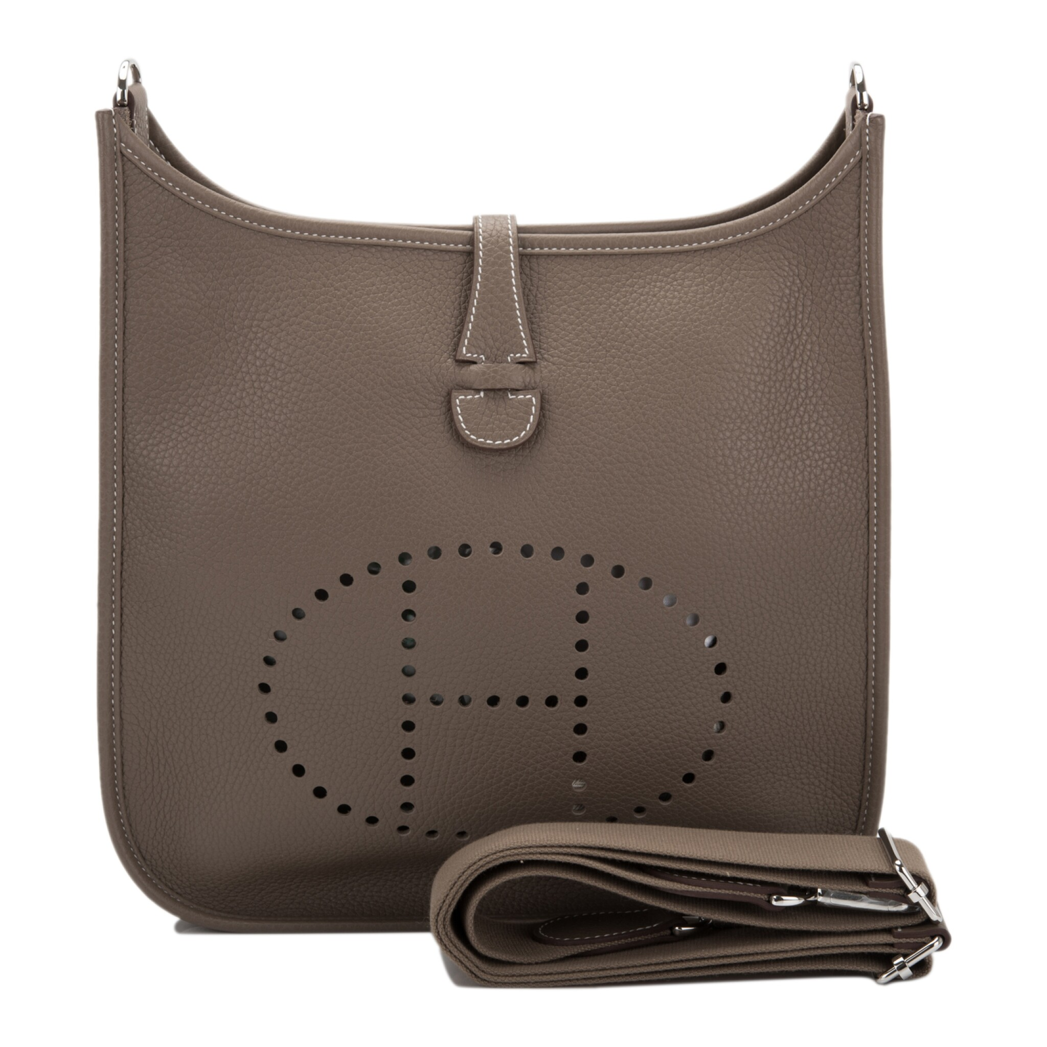 HERMÈS | ETOUPE EVELYNE PM OF CLEMENCE LEATHER WITH PALLADIUM HARDWARE