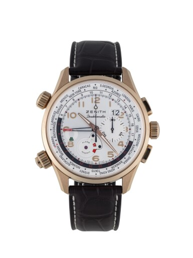 ZENITH | PILOT DOUBLEMATIC, REF 18.2400.4046 LIMITED EDITION PINK GOLD WORLD TIME CHRONOGRAPH WRISTWATCH WITH ALARM AND DATE CIRCA 2014