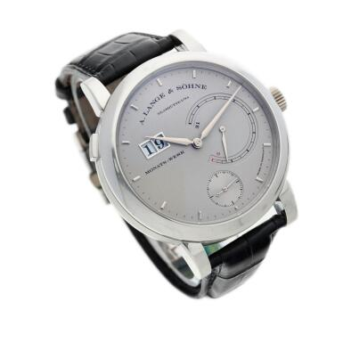 View 3. Thumbnail of Lot 293. Reference 130.025F Lange 31  A platinum wristwatch with date and power reserve indication, Circa 2010 .