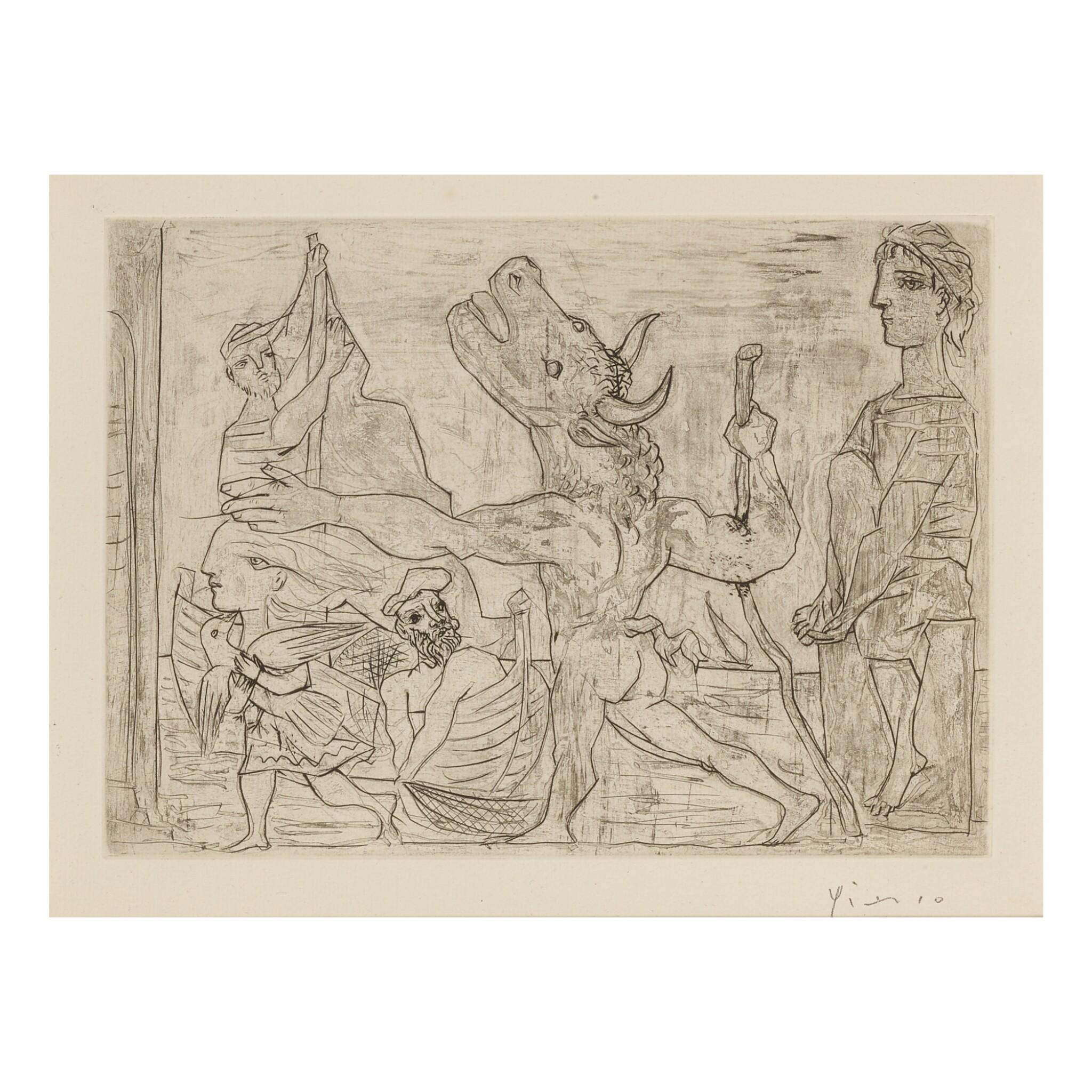 View full screen - View 1 of Lot 156. PABLO PICASSO   MINOTAURE AVEUGLE GUIDÉ PAR UNE PETITE FILLE AU PIGEON (B. 224; BA. 436).