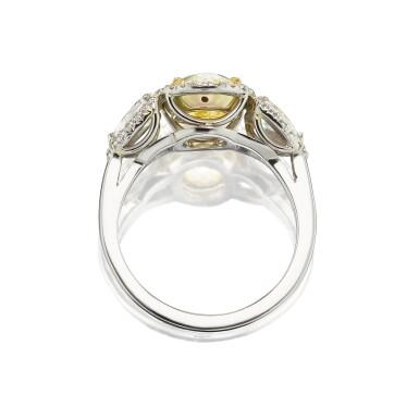 View 2. Thumbnail of Lot 47. Harry Winston   Fancy Yellow Diamond and Diamond Ring.