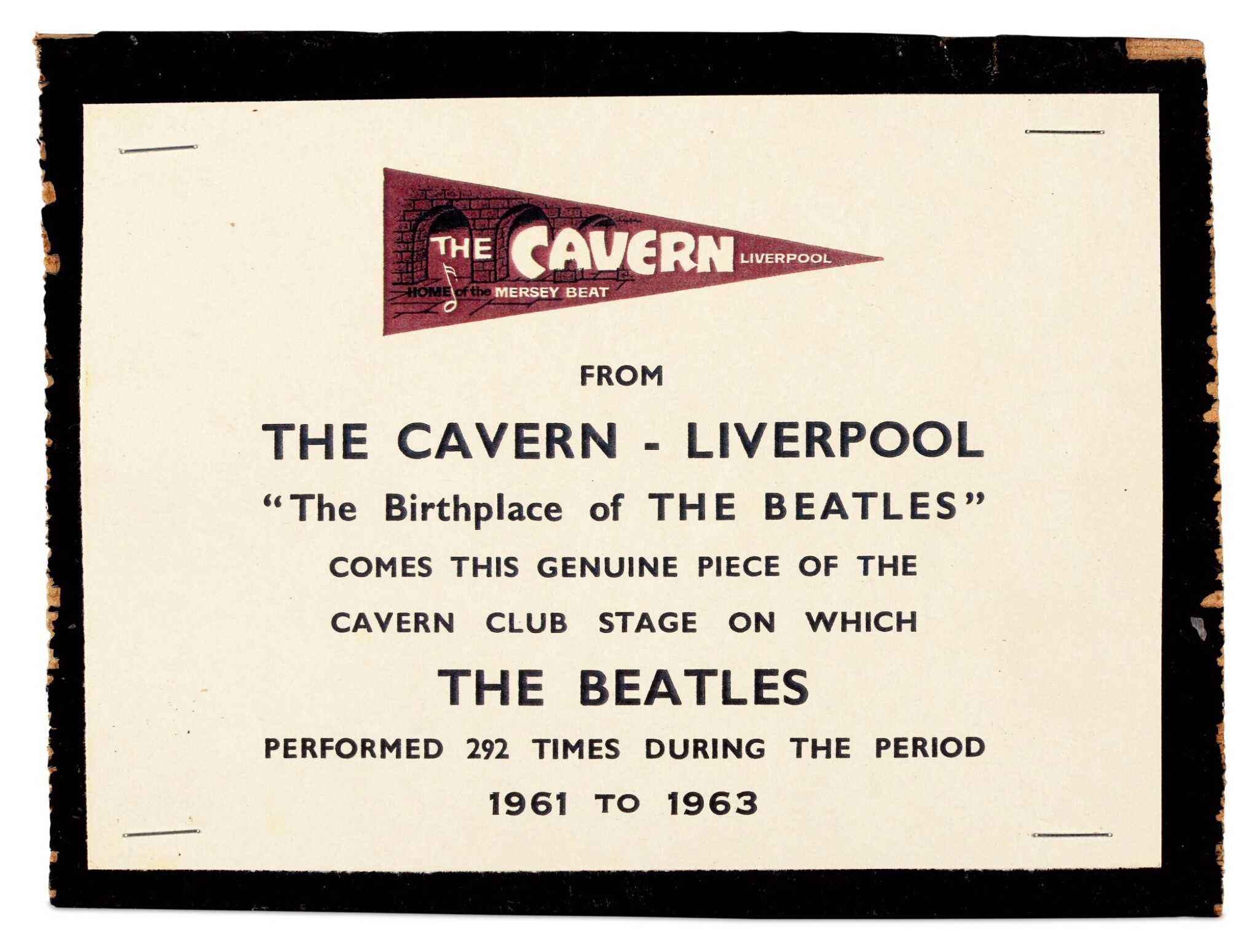 View full screen - View 1 of Lot 9. CAVERN CLUB | Fragment of stage.