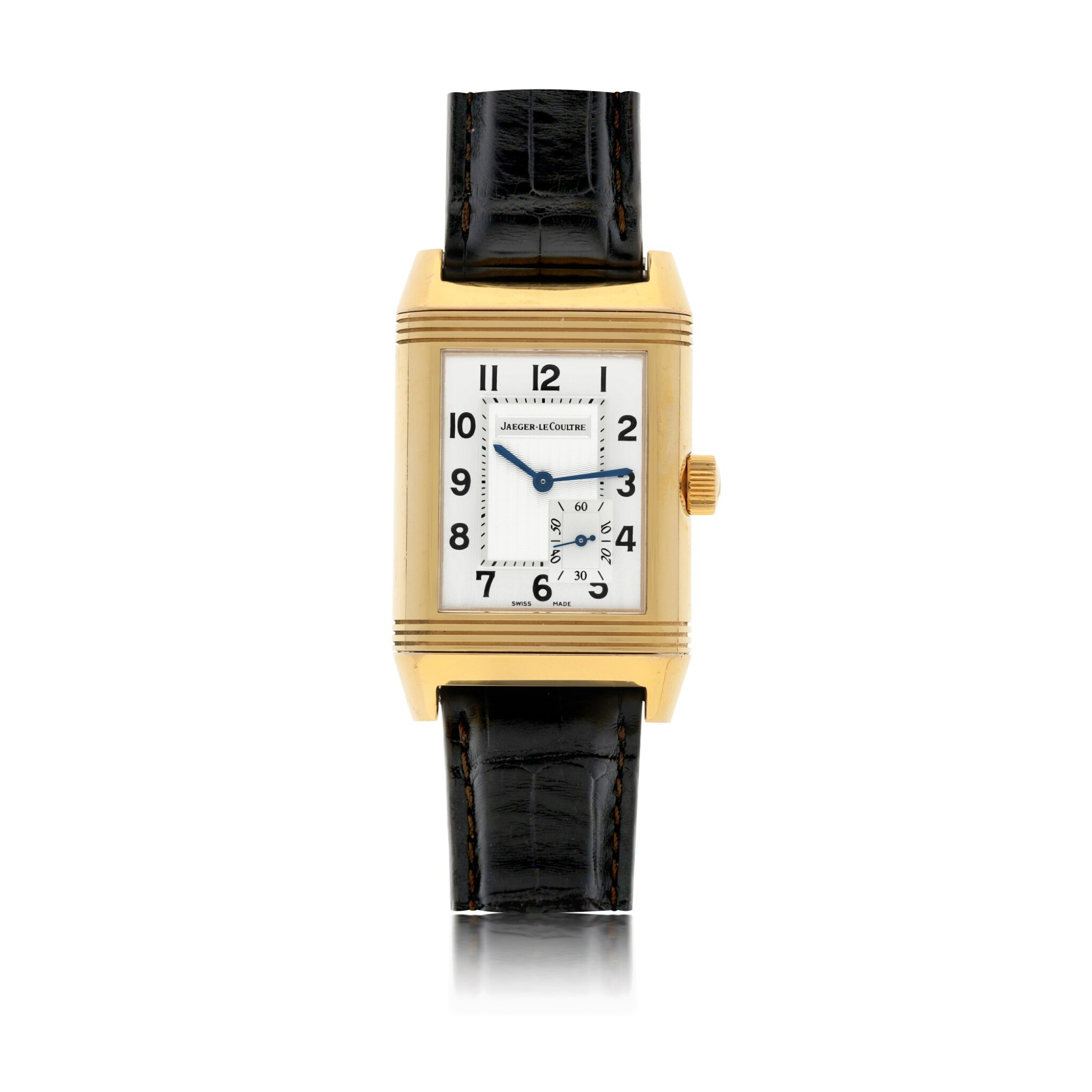 View full screen - View 1 of Lot 86. JAEGER-LECOULTRE   REF 240.214 REVERSO, A PINK GOLD RECTANGULAR REVERSIBLE WRISTWATCH WITH POWER RESERVE INDICATION CIRCA 2005.