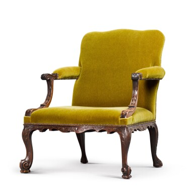 View 1. Thumbnail of Lot 126. A GEORGE II STYLE CARVED MAHOGANY GAINSBOROUGH ARMCHAIR, 19TH CENTURY.