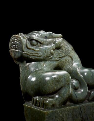 View 6. Thumbnail of Lot 3601. A superb imperial green jade memorial seal of the Yongle Empress Wen Ming dynasty, Hongxi period | 明洪熙 永樂仁孝文皇后青玉龍鈕諡寶 印文:……天齊聖文皇后寶.