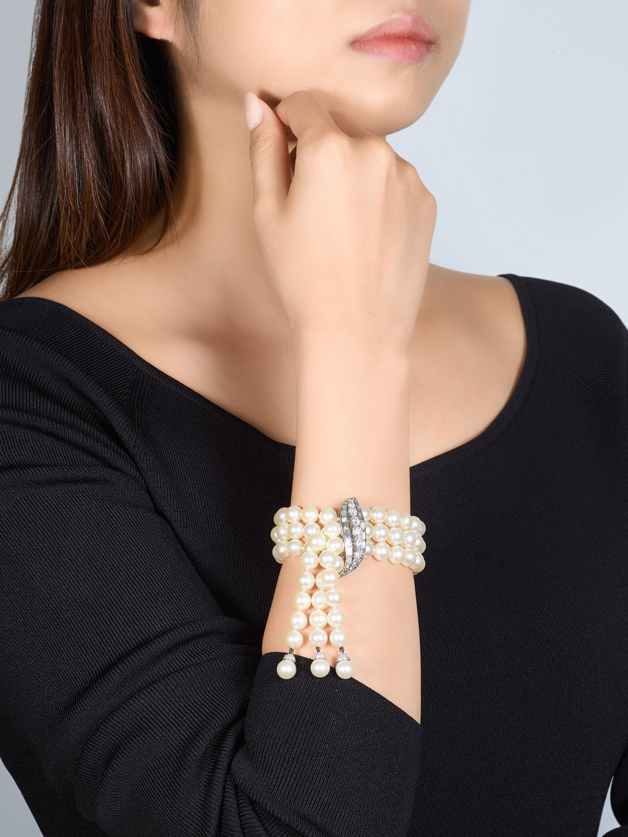 View full screen - View 1 of Lot 9037. 'Flammes' Cultured Pearl and Diamond Bracelet   梵克雅寶   'Flammes' 養殖珍珠 配 鑽石 手鏈.