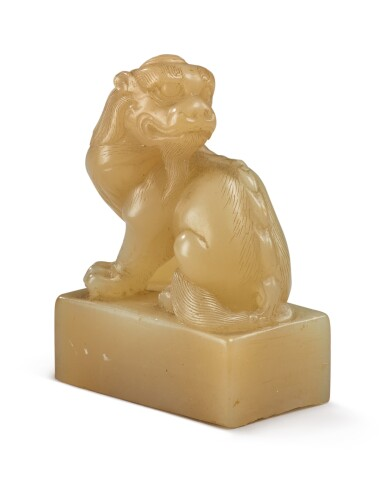View 1. Thumbnail of Lot 1049. A 'MYTHICAL BEAST' SOAPSTONE SEAL BY YANG YUXUAN, 17TH CENTURY.