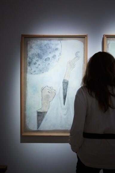 """View 4. Thumbnail of Lot 33. JEAN COCTEAU. Astrologue II. 1954. Technique mixte sur carton fort, signée """"Jean Cocteau"""" et datée 1954 en bas à droite.."""