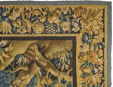 View 3. Thumbnail of Lot 106. A Louis XIV French Hunting Tapestry, Aubusson, late 17th century.