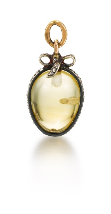 A Fabergé jewelled hardstone egg pendant, late 19th / early 20th century