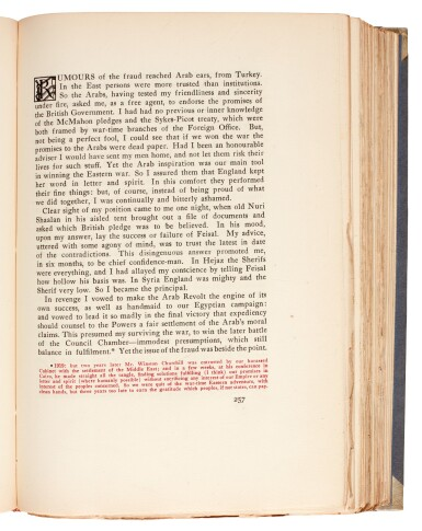 View 2. Thumbnail of Lot 105. LAWRENCE, T.E. | Seven Pillars of Wisdom, 1926, 1st US edition, NO.7 OF 22 COPIES, signed by Doran.