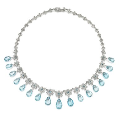 View 3. Thumbnail of Lot 290. MICHELE DELLA VALLE | AQUAMARINE AND DIAMOND NECKLACE.
