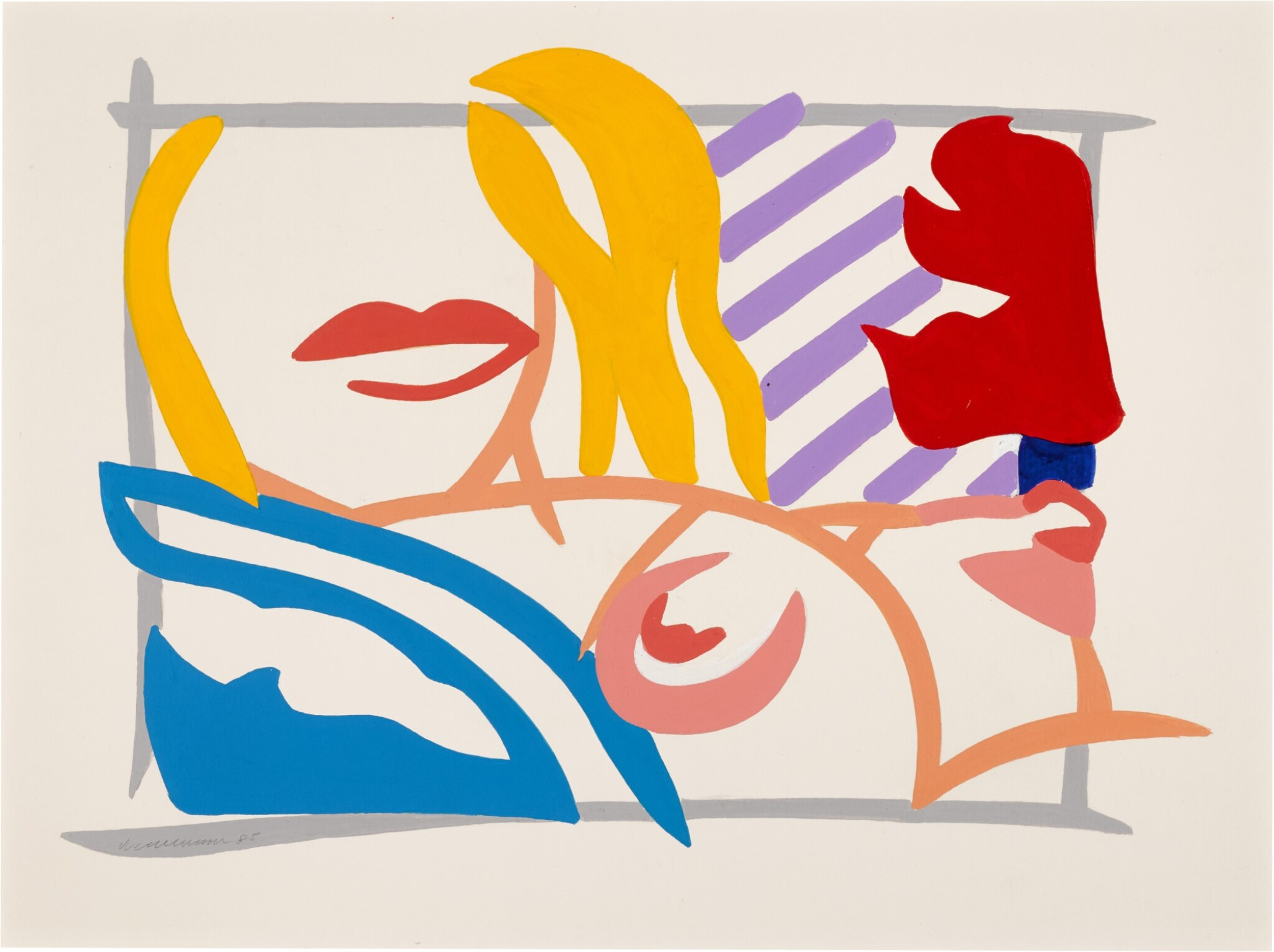 View full screen - View 1 of Lot 233. TOM WESSELMANN | BEDROOM BLONDE WITH LAVENDER WALLPAPER.