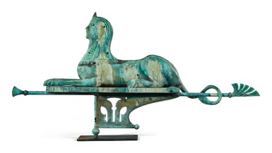 View 2. Thumbnail of Lot 1495. VERY FINE AND RARE MOLDED SHEET-COPPER SWELLED-BODIED SPHINX WEATHERVANE, J.L. MOTT IRON WORKS, NEW YORK AND CHICAGO, CIRCA 1892.