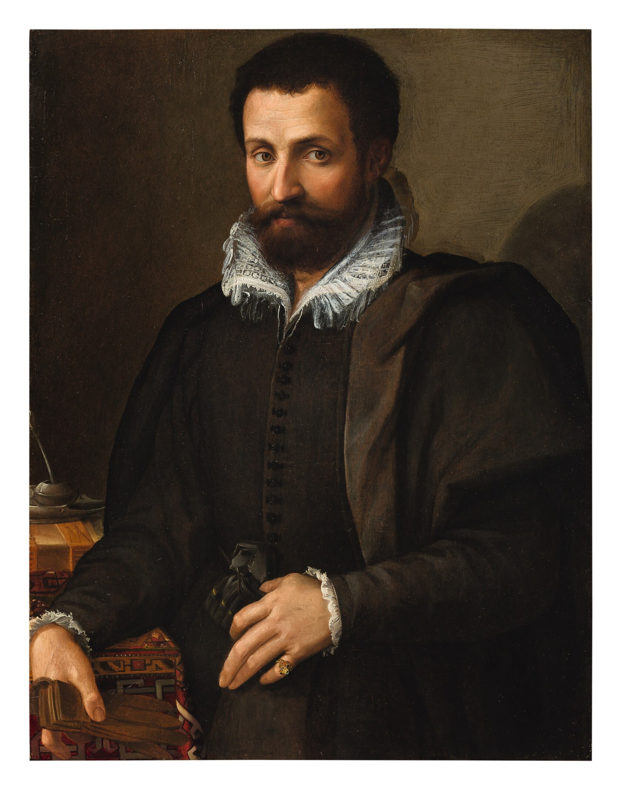 View full screen - View 1 of Lot 20. Sold Without Reserve | TOMMASO D'ANTONIO MANZUOLI, CALLED MASO DA SAN FRIANO |  PORTRAIT OF A GENTLEMAN, THREE-QUARTERS, HIS ARM RESTING ON A WRITING TABLE.