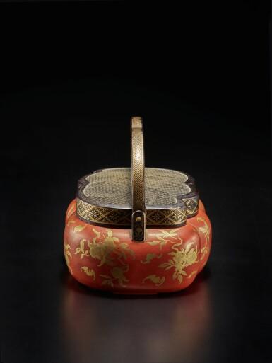 View 4. Thumbnail of Lot 220. A rare red and gilt-lacquer handwarmer, Qing dynasty, 18th / 19th century | 清十八 / 十九世紀 朱漆描金福壽雙全紋手爐.