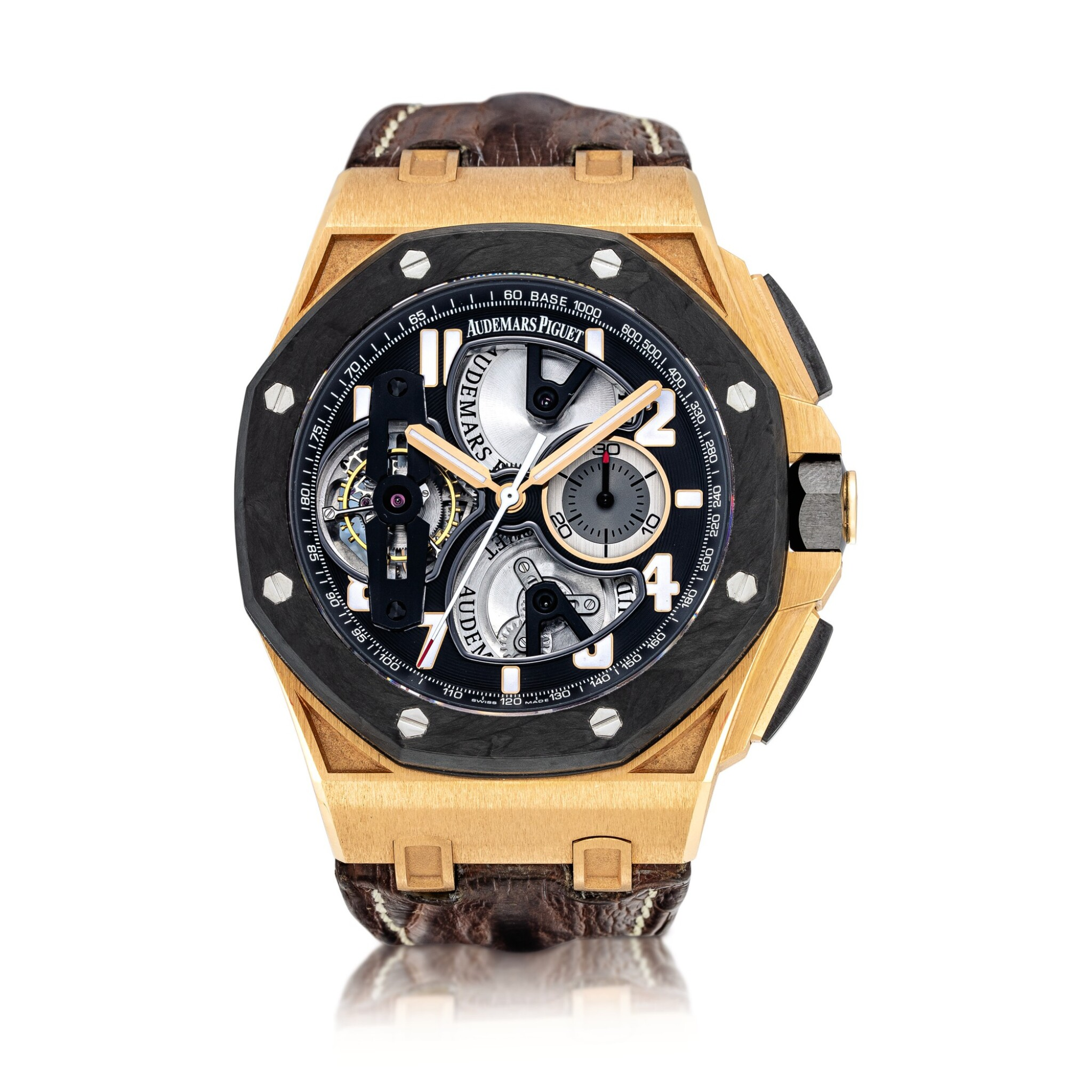 View full screen - View 1 of Lot 2240. Audemars Piguet | Royal Oak Offshore, Reference 26288OF.OO.D002CR.01, A pink gold and forged carbon semi-skeletonised tourbillon chronograph wristwatch, Circa 2010 | 愛彼 | 皇家橡樹離岸型系列 型號26288OF.OO.D002CR.01  粉紅金及鍛碳半鏤空陀飛輪計時腕錶,約2010年製.