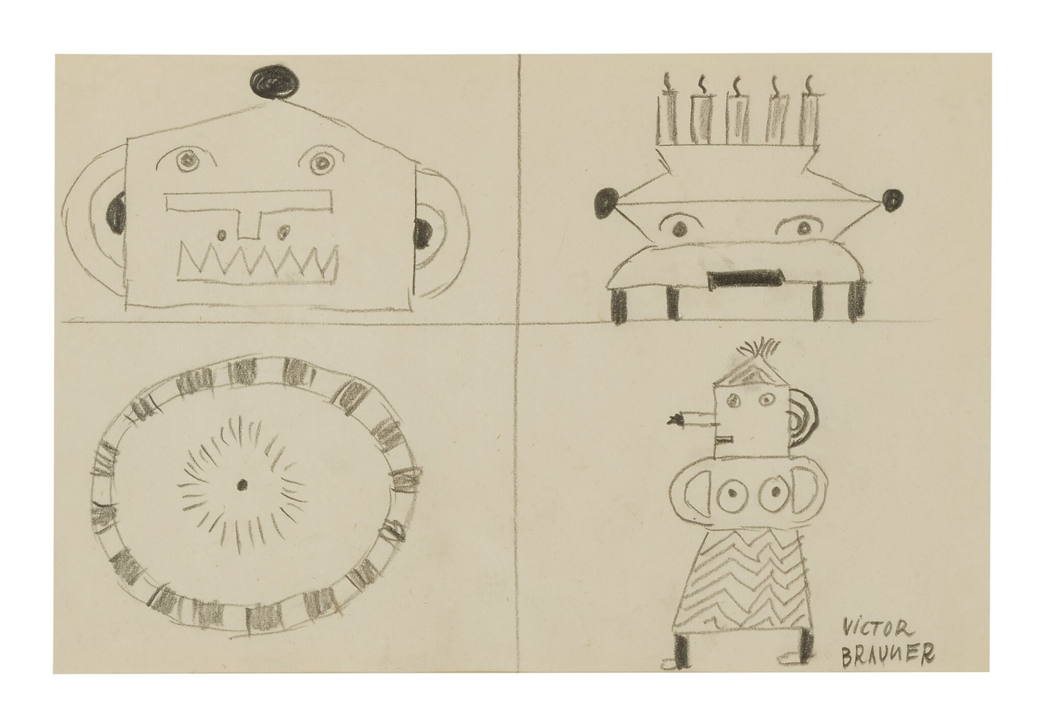 View full screen - View 1 of Lot 10. VICTOR BRAUNER | FOUR FIGURES.