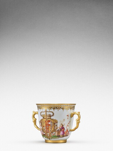 View 5. Thumbnail of Lot 92. An extremely rare Meissen armorial two-handled beaker from the service made for Elizabeth Farnese, Queen of Spain, Circa 1737 .