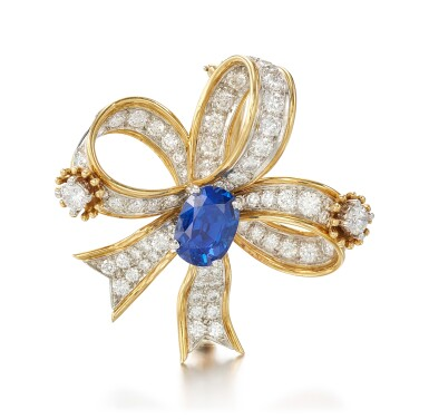 View 1. Thumbnail of Lot 9125. SAPPHIRE AND DIAMOND BROOCH, SCHLUMBERGER FOR TIFFANY & CO. | 藍寶石 配 鑽石 別針, Schlumberger for Tiffany & Co..