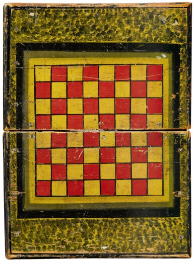 AMERICAN POLYCHROME PAINT-DECORATED WOODEN GAMEBOARD BOX, LATE 19TH TO EARLY 20TH CENTURY