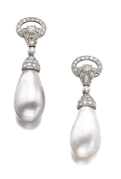 View 1. Thumbnail of Lot 603. Bulgari | Pair of natural, cultured pearl and diamond ear clips | 寶格麗 | 天然珍珠、養殖珍珠配鑽石耳環一對.