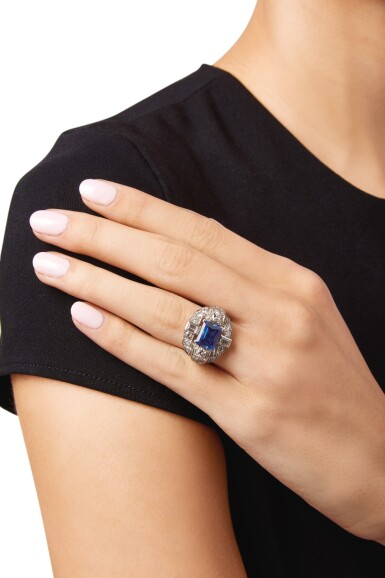 View 2. Thumbnail of Lot 27. SAPPHIRE AND DIAMOND RING.